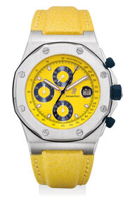 Audemars Piguet, 'A fine and attractive stainless steel chronograph wristwatch with yellow dial, date, Certificate of Origin and presentation box', Circa 2000
