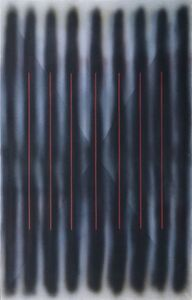 Barrie Cooke, 'Verticals with red stripe', 1977