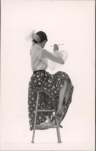 Gjon Mili, 'Model Dorian Leigh Wearing White Organdy Shirt with Full Print Skirt by Ceil Chapman', 1950