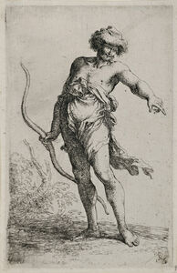 """Salvator Rosa, 'Exotic Warrior with a Bow from """"Figurina""""', 17th Century"""