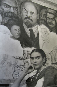 Lucienne Bloch, 'Frida in front of the unfinished Unity Panel', 1933