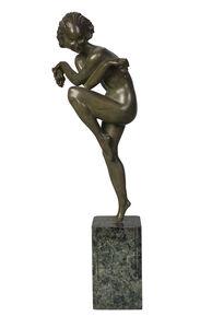 Pierre Le Faguays, ''Bacchic Dancer', an Art Deco cold-painted bronze', c.1930