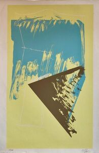 Michael Steiner (b. 1945), '1980s Abstract Expressionism Color Field Silkscreen Serigraph Print Pale Yellow', 1970-1979