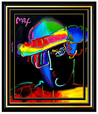 PETER MAX Original Acrylic PAINTING on CANVAS ZERO MAN Pop Art Profile SIGNED