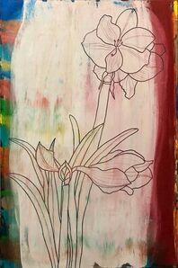 Nobu Fukui, 'Abstract Flowers Oil Painting Study for Amaryllis', 1990-1999