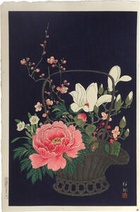 Ohara Koson, 'Basket of Flowers', ca. 1931