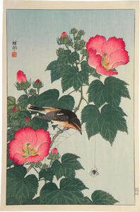 Ohara Koson, 'Fly-catcher on Rose Mallow Watching Spider', ca. 1932