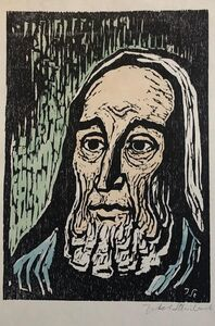 Jacob Steinhardt, 'Jewish Prophet Rabbi German Expressionist Color Woodcut Israeli Early Bezalel', 20th Century