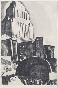 Howard Cook, 'Downtown, New York', 1928