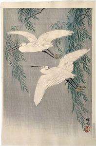 Ohara Koson, 'Egrets and Willow', ca. 1926