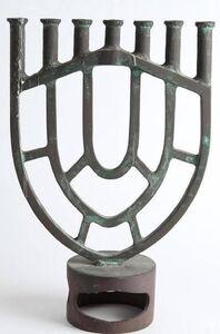 Gloria Kisch, 'Heavy Bronze Modernist Menorah Candelabra Sculpture', 20th Century