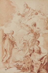 Giovanni Battista Piazzetta, 'Design for a frontispiece: Allegorical figures of Constancy, Philosophy and Truth, with a winged genius'