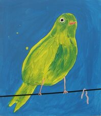 Yellow Bird with Worm