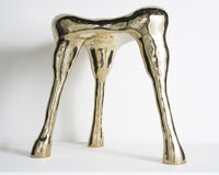 Unique Aster Hex stool in brass tile.