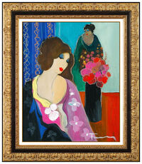 Itzchak Tarkay Original Painting Acrylic On Canvas Signed Portrait Lady Cafe Art