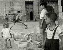 Soccer in the street. Sicily, Italy.