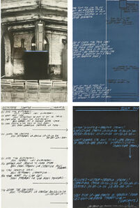 Vito Acconci, 'Photo and Hand Written Audio Transcript Excerpts of THE AMERICAN GIFT 1 (Bordeaux, Spring, 1966)', 1977