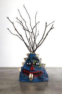 Ramesh Mario Nithiyendran, 'Blue Bronze Figure with Branch Headpiece', 2019