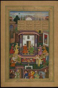 Amir Khusraw Dihlavi, 'Shirin Entertains Khusraw', 1597-1598