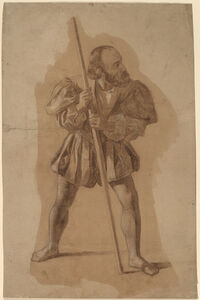 John Vanderlyn, 'Figure Costume Study for Columbus Mural, Washington, D.C.', in or after 1837