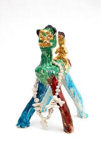 Ramesh Mario Nithiyendran, 'Green Dog with Gold Figure', 2020