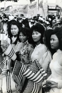 Larry Burrows, 'Rally for McNamara, Hoa Hao, So. Vietnam, 3/10/64', 1964