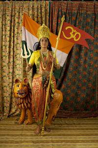 Pushpamala N., 'Motherland - Studio photograph with Flag, Trishool and Om ', 2009