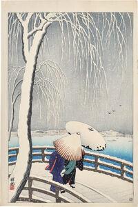 Ohara Koson, 'Snow on Willow Bridge', ca. 1927