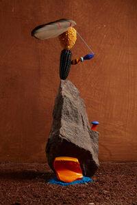 Lorenzo Vitturi, 'Orange Cotisso, Granite, Choklo, Venitian Beads, Condor Feather, Adobe in Arin', 2019