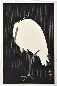 Ohara Koson, 'Egret in Rain', 1928