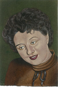 Eric Stotik, 'Untitled (woman with brown sweater, green background)', 2018