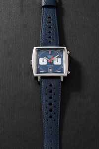Heuer, 'A very fine and rare square shaped stainless steel chronograph wristwatch with date, warranty, box and additional bracelet', Circa 1969