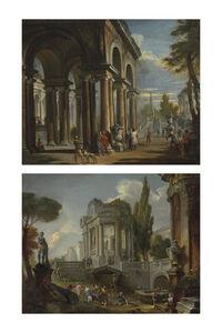 Giovanni Paolo Panini, 'Capriccio of a classical loggia; and Capriccio of palaces with giochi d'acqua'