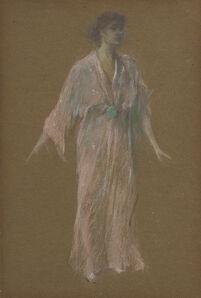Thomas Wilmer Dewing, 'Standing: Mauve Kimono No. 21', 1911