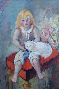 Hans Burkhardt, 'Girl with Cat', 1935