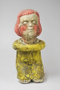 Kensuke Yamada, 'Seated figure (red head seated girl figure)', 2017