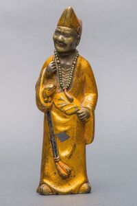 Bronze Sculpture, 'A Painted Gilt Lacquered Bronze Figure of Ji Gong, Qing Dynasty, 17,5 cm.'