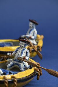 Delftware, 'Pair of Polychrome Groups of Two Gentlemen in a Boat', ca. 1780