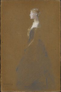 Thomas Wilmer Dewing, 'Woman in a Blue Dress', ca. 1890–1909
