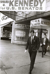 Vytas Valaitis, 'Ted Kennedy in Front of Campaign Headquarters', 1960s/1960s