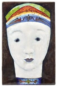 Maria Likarz for the Wiener Werkstätte, 'Copper on Enamel Portrait Plaque', 1929