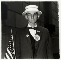 Diane Arbus, 'Boy with Straw Hat Waiting to March in a Pro War Parade, New York', 1967