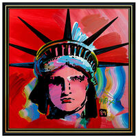 Peter Max, 'PETER MAX Original PAINTING on CANVAS Signed LIBERTY HEAD Statue of HUGE 60x60', 1989