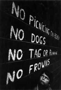 W. Eugene Smith, 'untitled, (Shana Frowning at 'No Frowns' Sign)', 1958
