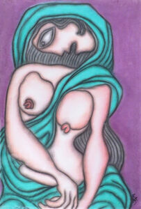 Prokash Karmakar, 'Painting in Pastel of Sensuous Woman Indian Nude in Green Saree by Master Artist Prokash Karmakar', 1996