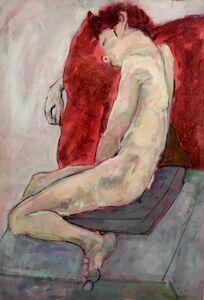 Elizabeth Cope, 'Leo Lying on Red Cushion, Chelsea School of Art ', 1974