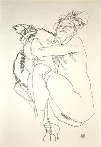 Egon Schiele, 'Crouching Nude of Woman', 1920