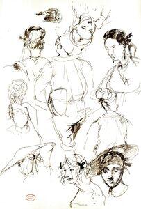 Paul Huet, 'Portrait studies', 1820-1840
