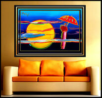 Peter Max, 'PETER MAX all Original ACRYLIC PAINTING Large UMBRELLA MAN Signed ART ICONIC oil', 20th Century