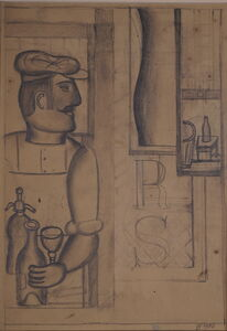 Henryk Streng/ Marek Włodarski, 'Preparatory drawing for Man with a Siphon painting ', 1926